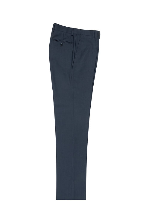 Blue Birdseye Flat Front, Pure Wool Dress Pants by Riccardi Clothier RIC7018/9