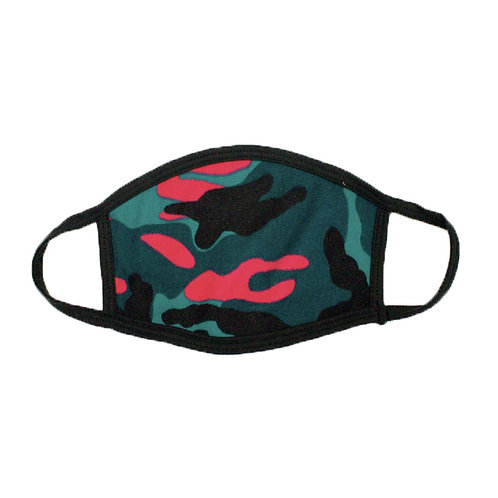 Sea Green and Pink Camouflage Face Mask