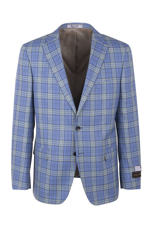Blue with yellow and navy windowpane Modern Fit, Pure Wool Jacket TL7223M/302/2