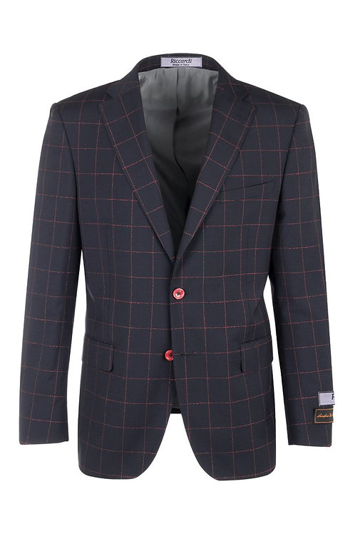 Dolcetto Navy Blue with Red Windowpane Modern Fit, Pure Wool Jacket F8076