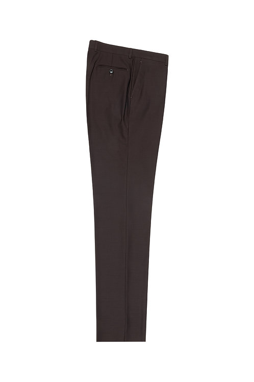 Brown Flat Front, Pure Wool Dress Pants by Riccardi Clothier RIC1003