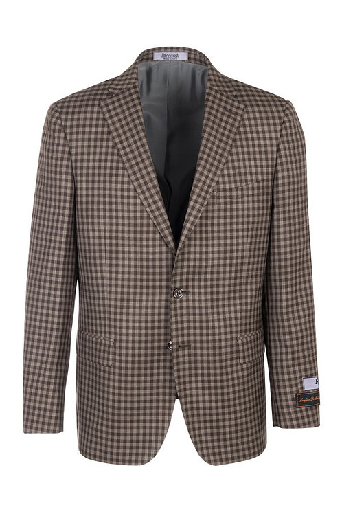 Brown and taupe checkered, Modern Fit, Pure Wool Jacket T7143/1