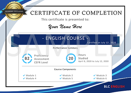 ประกาศนียบัตรรับรอง การเรียนภาษาอังกฤษ-BLC English Nonthaburi