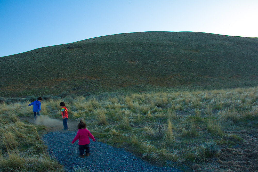 Kids running on Badger Mountain