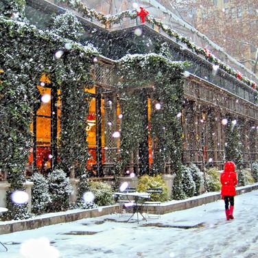 Bryant Park Snow Red Coat