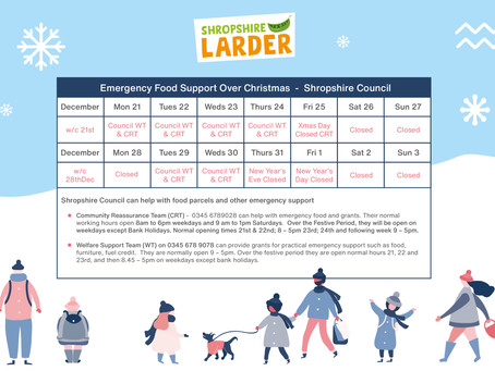 Shropshire Christmas Support - Council, Foodbanks, Community Food Projects
