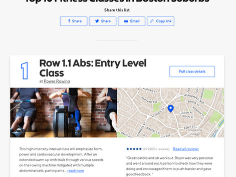 Row Abs Named #1 Fitness Class in Boston Suburbs