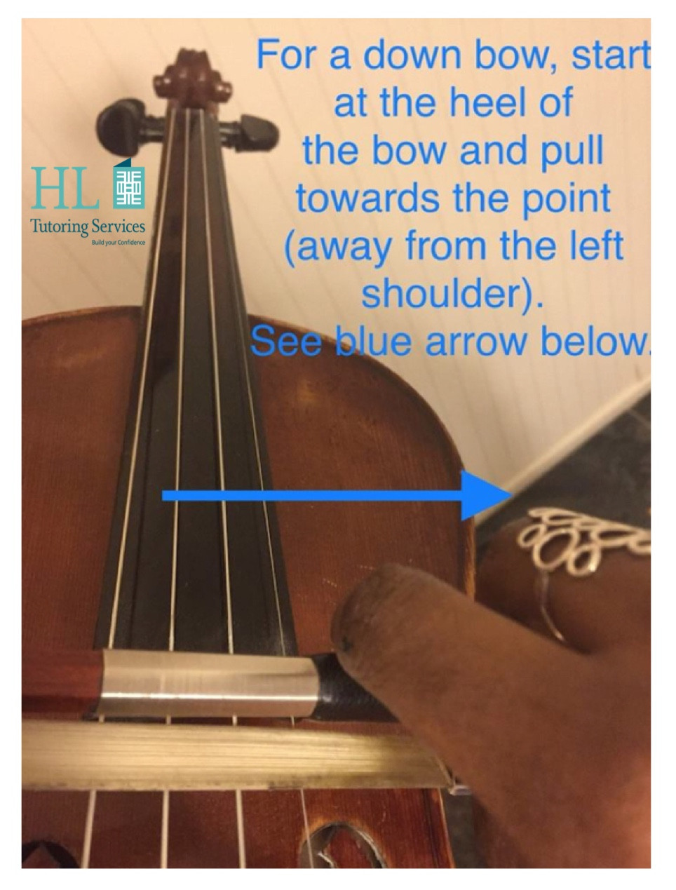 Down bow instructions and diagram