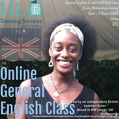 Online General English (E.F.L.) Class HL Tutoring Services