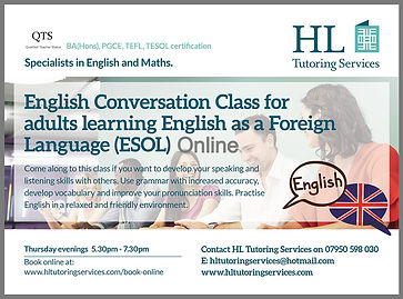 English Conversation Class for adults learning English as a Foreign Language Online with HL Tutoring Services