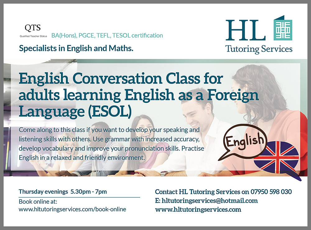 English Conversation Class for adults (ESOL)