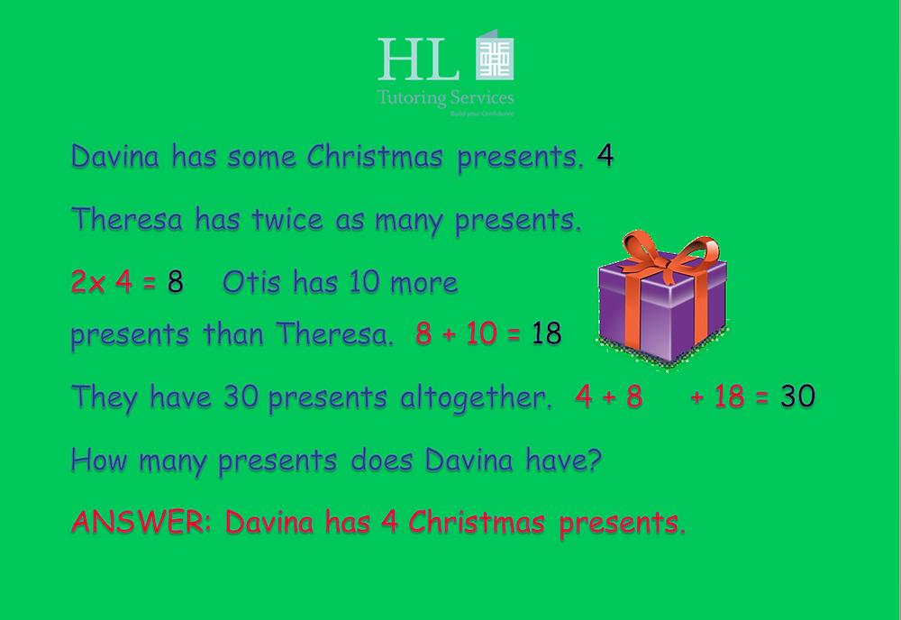 Davina has 4 Christmas presents.