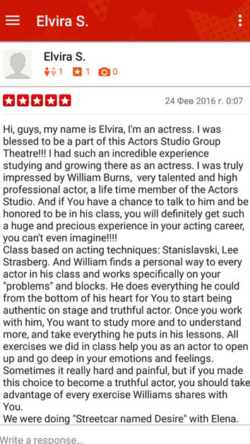 Strasberg method acting class