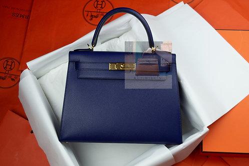 Hermes Kelly 28 Blue Encre Epsom Sellier Gold Hardware