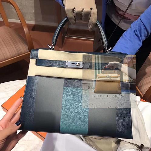 Hermes Kelly Letter 28 Vert Cypress Malachite Bleu Obscure Palladium Hardware