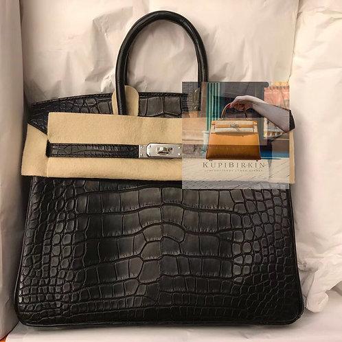 Hermès Birkin 25 Noir Alligator Mississippiensis Matte Palladium Hardware