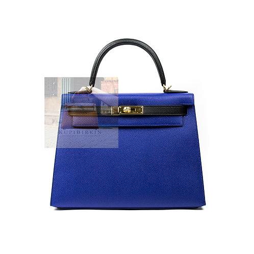 Hermes HSS Kelly 28 Blue Electric Black Epsom Sellier Gold Hardware