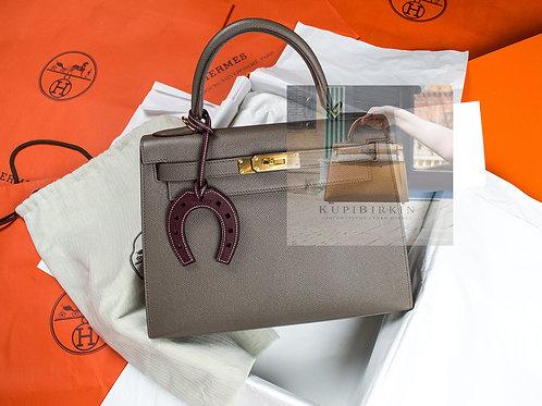 Hermes Kelly 28 Gris Etain Epsom Sellier Gold Hardware