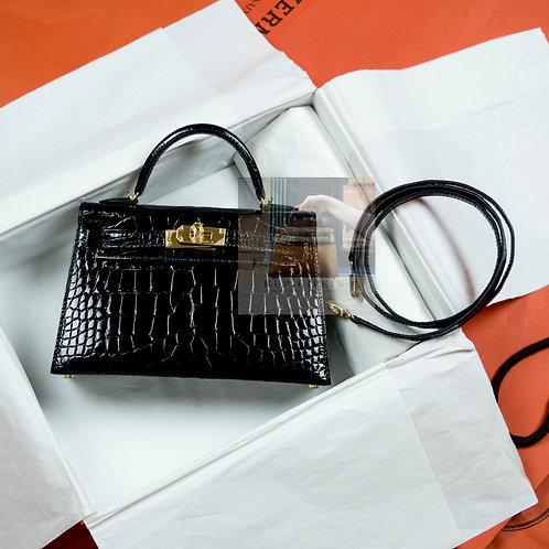 Hermes Kelly 20 Black Shiny Alligator Sellier Gold Hardware