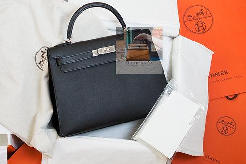 Hermes Kelly 32 Black Epsom Palladium Hardware
