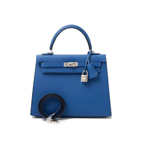 Hermes Kelly 25 Blue Agathe Epsom Sellier Palladium Hardware