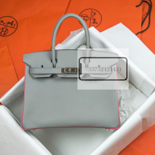 4eeaf9aca73 Hermes HSS Birkin 30 Gris Mouette and Rose Lipstick Epsom Palladium Hardware