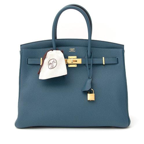 Hermes Birkin 35 Blue De Galice Togo GHW