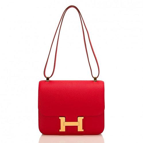 Hermes Constance 24 Rouge Casaque Epsom GHW