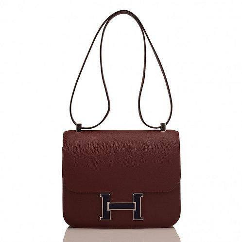 Hermes Constance 18 Rouge H Epsom Blue Nuit PHW