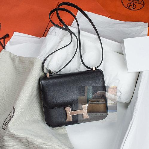Hermes Constance 18 Black Swift Rose Gold Hardware