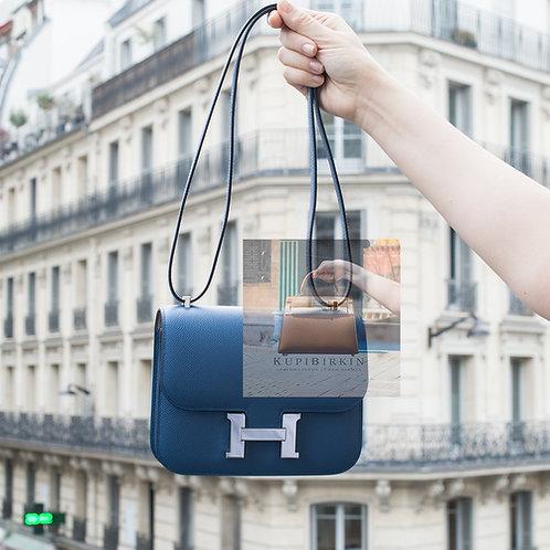 Hermes Constance 18 Bi-Color Bleu Agate/Gris Mouette Epsom Palladium Hardware