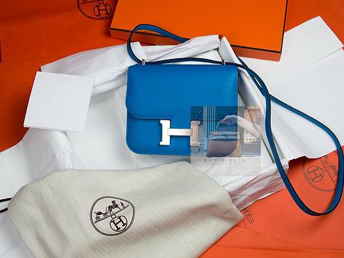 Hermes Constance 18 Blue Zanzibar Evercolor Palladium Hardware