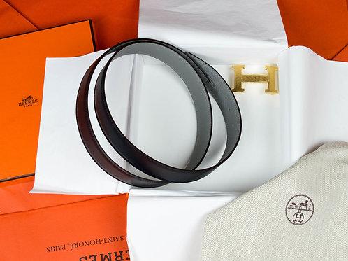 Hermes Belt buckle H & Leather reversible belt 32 mm
