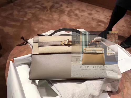 Hermes Kelly Pouchette Swift Gris Asphalte Gold Hardware