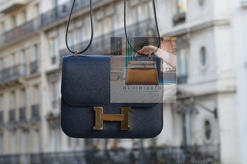 Hermes Constance 18 Blue Indigo Epsom Gold Hardware