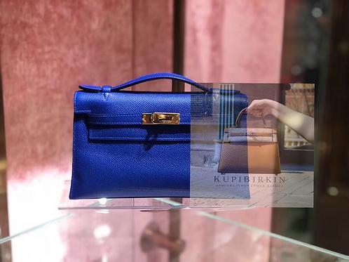 Hermes Kelly Pouchette Epsom Blue Electric Gold Hardware