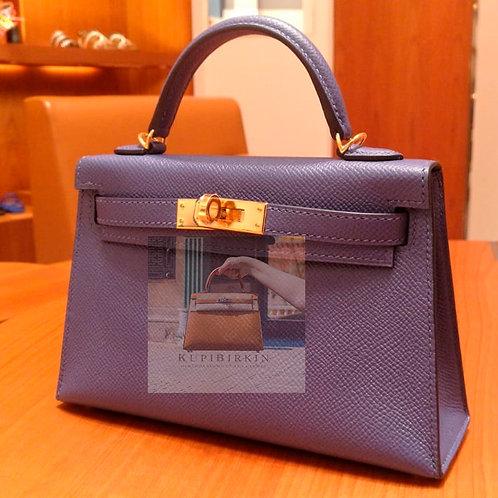 Hermes Mini Kelly Blue Brighton Epsom Gold Hardware