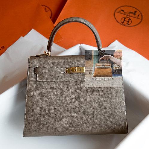 Hermes Kelly 25 Etoupe Epsom Sellier Gold Hardware