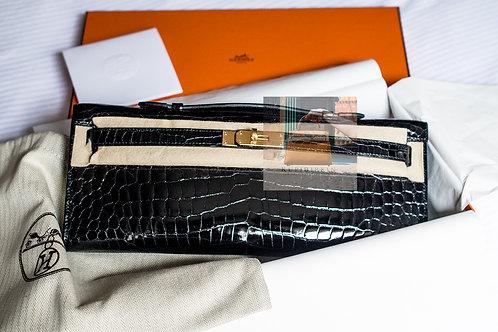 Hermes Pochette Kelly Cut Crocodile Porosus Black Gold Hardware