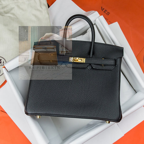 Hermes Birkin 25 Black Togo Gold Hardware