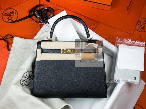 Hermes Kelly 28 Black Epsom Sellier Gold Hardware