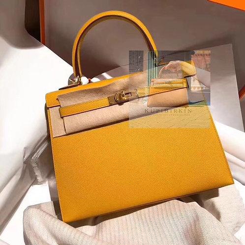Hermes Kelly 25 Jaune Ambre Epsom Sellier Gold Hardware