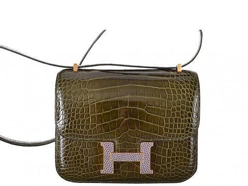 Hermes Constance Mini Alligator 18 Vert Veronese / Gold & Lizard Agate