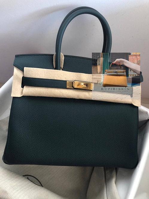 Hermes Birkin 30 Vert Cypress Togo Gold Hardware
