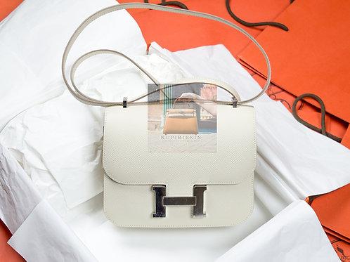 Hermes Constance 18 Craie Epsom Palladium Hardware
