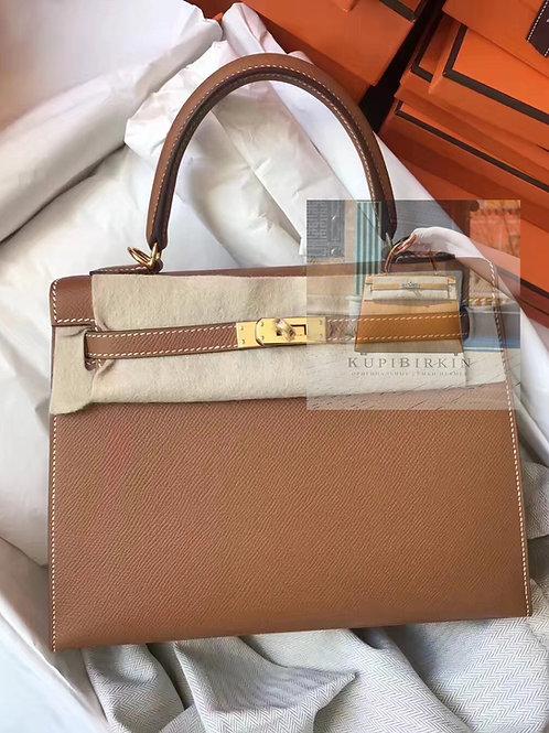 Hermes Kelly 28 Gold Epsom Sellier Gold Hardware