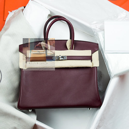 Hermes Birkin 25 Bordeaux Swift Palladium Hardware