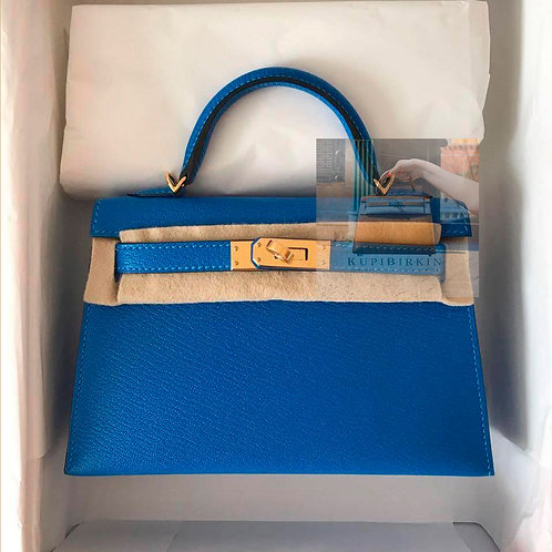 Hermes Kelly 20 Blue Zanzibar Chevre Gold Hardware