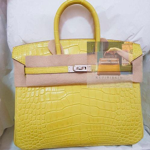 Hermès Birkin 25 Lime Alligator Mississipi Matte Palladium Hardware