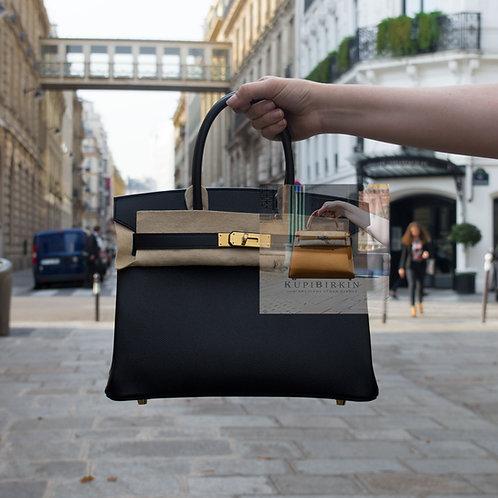 Hermes Birkin 30 Black Epsom Gold Hardware